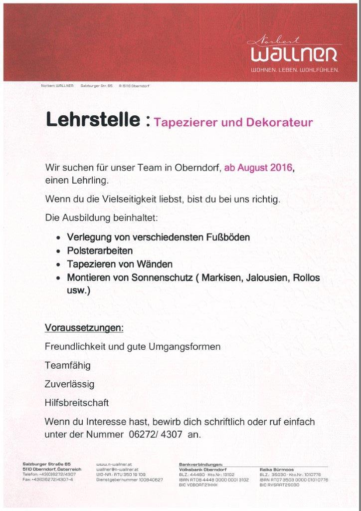 Veranstaltungen polytechnische schule oberndorf for Tapezierer und dekorateur